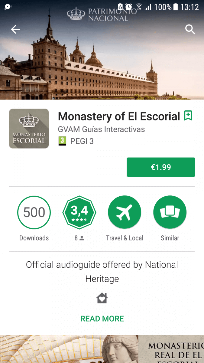 App for the Royal Monastery San Lorenzo de el Escorial Madrid