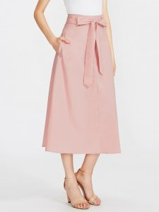 SHOP MY INSTAGRAM Pink Bow Tie Waist Pocket Skirt