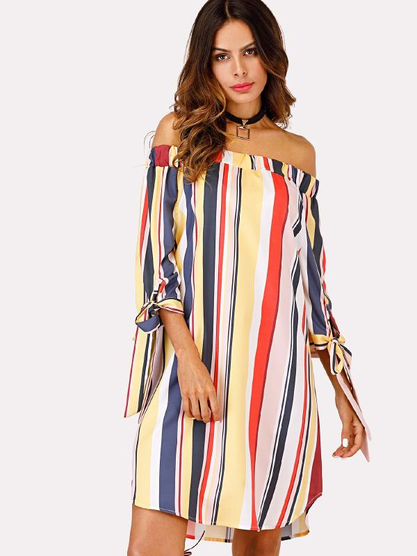 SHOP MY INSTAGRAM Bardot Style Striped Dress