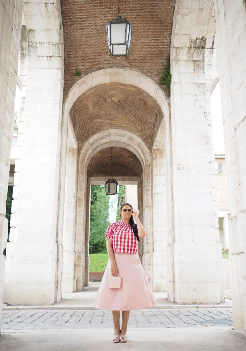 SHOP MY INSTAGRAM pink a-line skirt with pockets and bow
