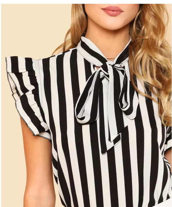 Shop My Style SHEIN Black and White Striped Blouse